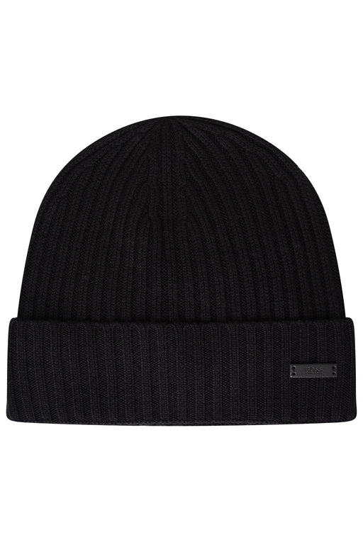 BOSS RIBBED BEANIE BLACK