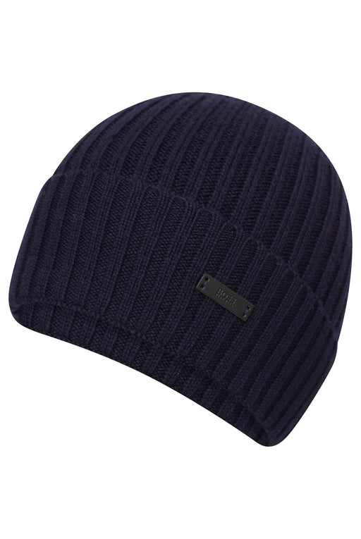BOSS RIBBED BEANIE BLUE