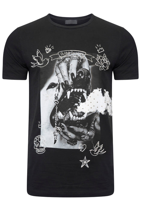 RH45 EMBELLISHED DOG PRINT TEE BLACK - giancarloricci