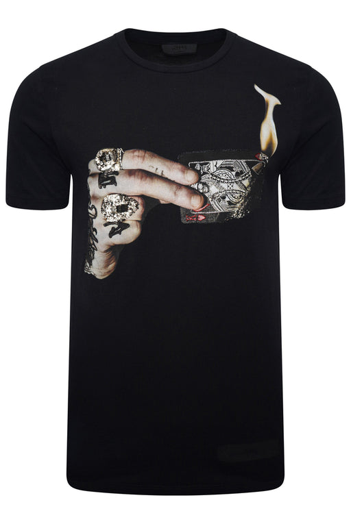 RH45 BRAXTON EMBELLISHED LIGHTER PRINT TEE BLACK - giancarloricci