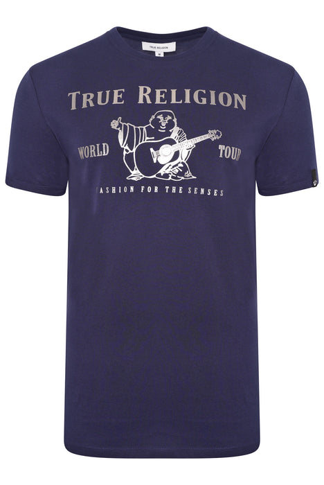 TRUE RELIGION CHAD CORE BUDDHA LOGO TEE BLUE