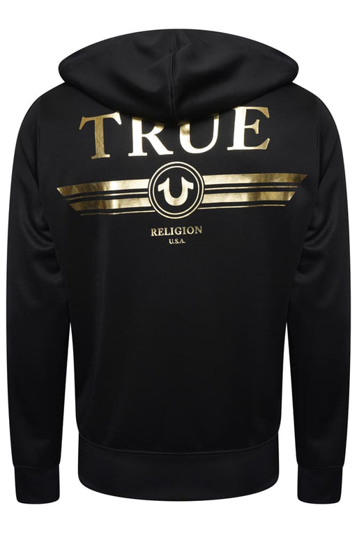 TRUE RELIGION FOIL LOGO CUFF ZIPPER HOODIE BLACK - giancarloricci