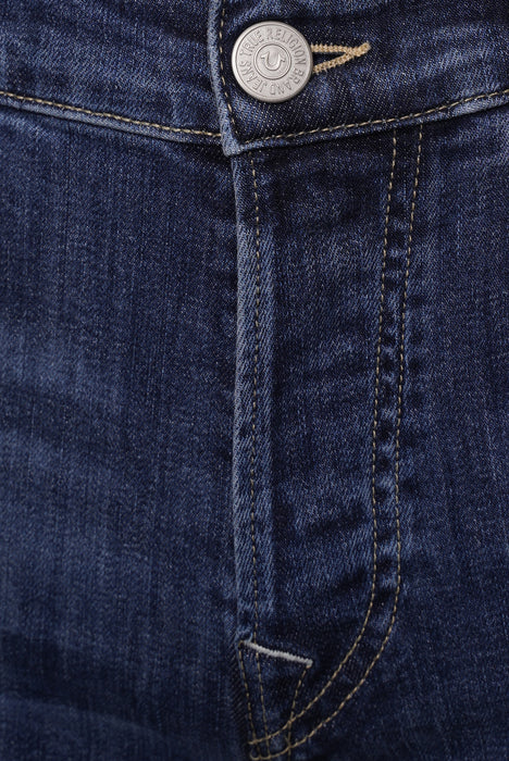 TRUE RELIGION ROCCO SLIM FIT STONEWASH WHISKERED JEAN BLUE