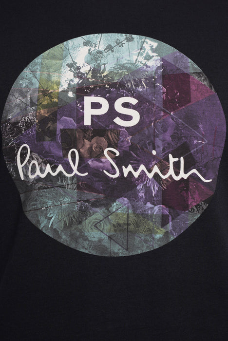PAUL SMITH REGULAR FIT CIRCLE LOGO PRINT TEE BLUE