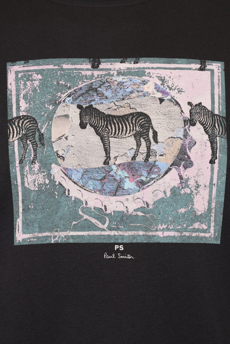 PAUL SMITH REGULAR FIT ZEBRA LANDSCAPEPRINT TEE BLACK