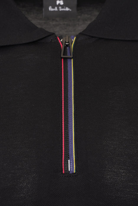 PAUL SMITH REGULAR FIT MULTISTRIPE ZIPPER PIQUE POLO BLACK