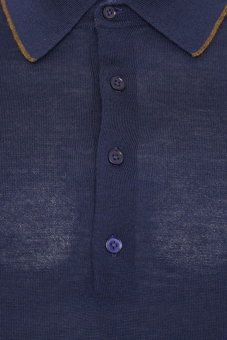 PAUL SMITH REGULAR FIT CONTRAST TIP MERINO POLO BLUE
