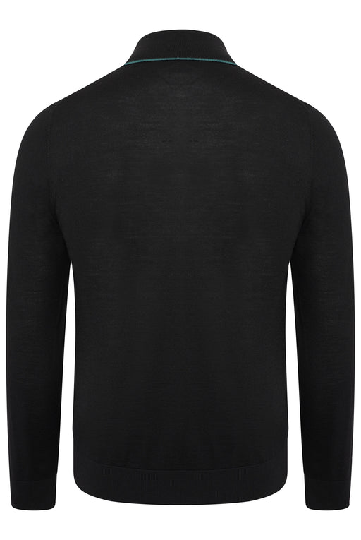 PAUL SMITH REGULAR FIT CONTRAST TIP MERINO POLO BLACK