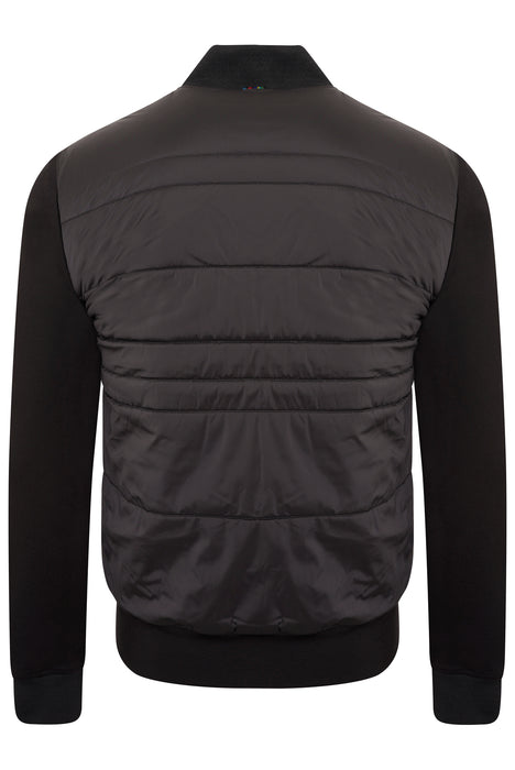 PAUL SMITH REGULAR FIT MIXED MEDIA ZIPPER BOMBER BLACK