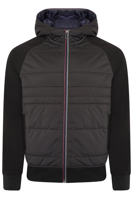 PAUL SMITH REGULAR FIT MIXED MEDIA ZIPPER JACKET BLACK