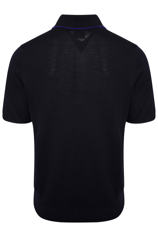 PAUL SMITH CONTRAST TIP KNITTED POLO BLUE - giancarloricci