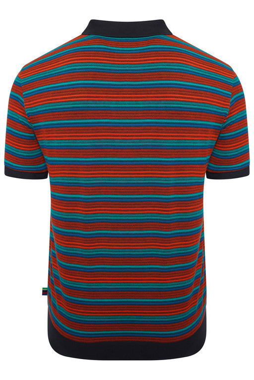 PAUL SMITH JACQUARD STRIPE POLO ORANGE - giancarloricci