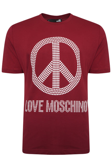 LOVE MOSCHINO REGULAR FIT STUD PEACE LOGO TEE RED - giancarloricci