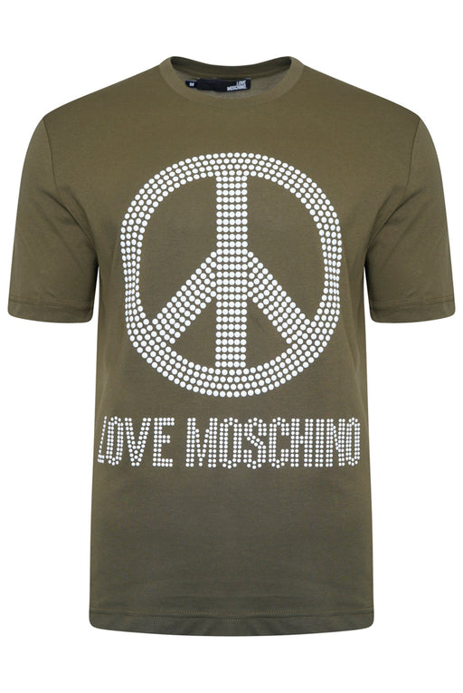 LOVE MOSCHINO REGULAR FIT STUD PEACE LOGO TEE GREEN - giancarloricci