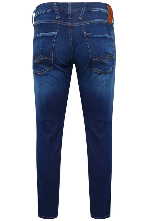 REPLAY SLIM FIT HYPERFLEX MID WASH STRETCH JEAN INDIGO - giancarloricci