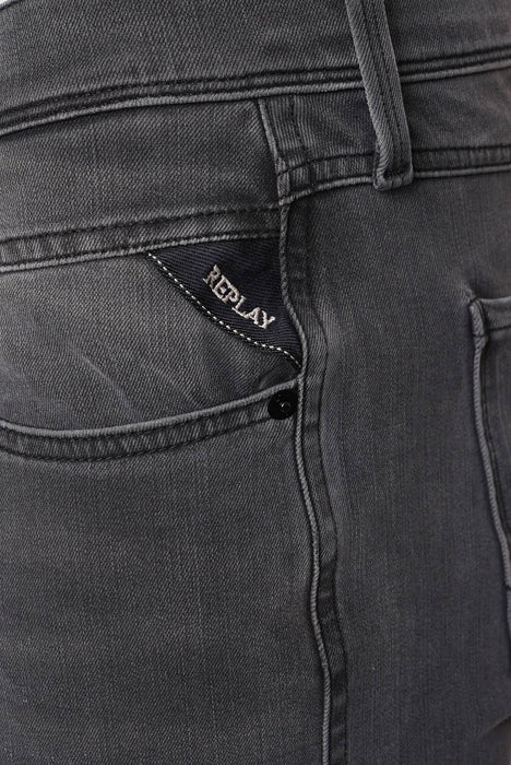 REPLAY SLIM FIT HYPERFLEX PLUS WASHED GREY JEAN GREY - giancarloricci
