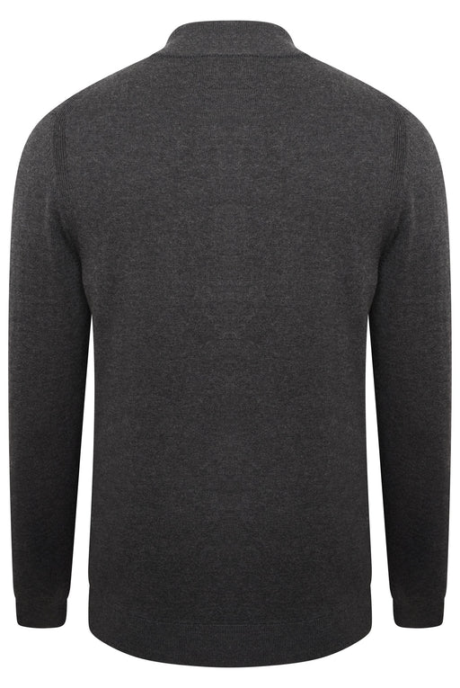 BOSS SMART CASUAL ENCLOSED PLACKET QUARTER ZIP KNIT GREY