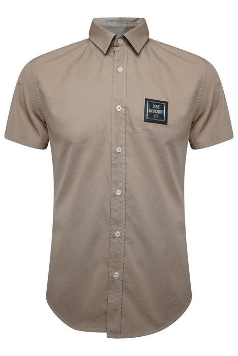 LOVE MOSCHINO SLIM FIT BADGE CHEST SHIRT BEIGE - giancarloricci