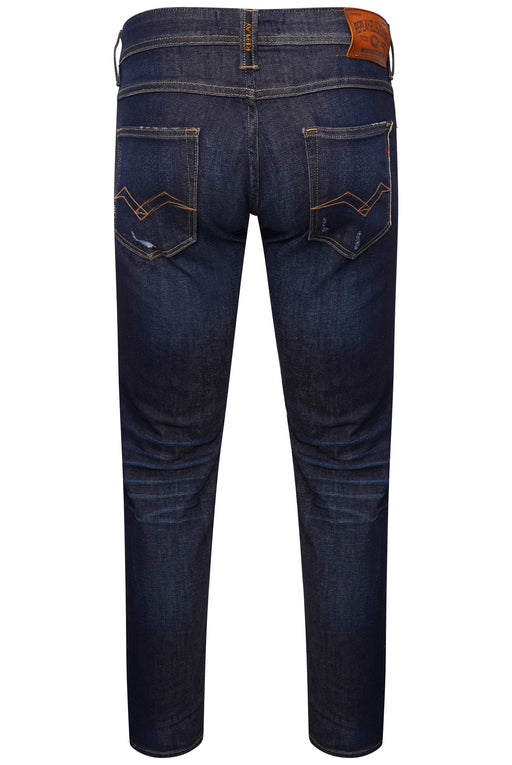 REPLAY RONAS STRETCH SELVEDGE RIP & REPAIR JEAN INDIGO - giancarloricci