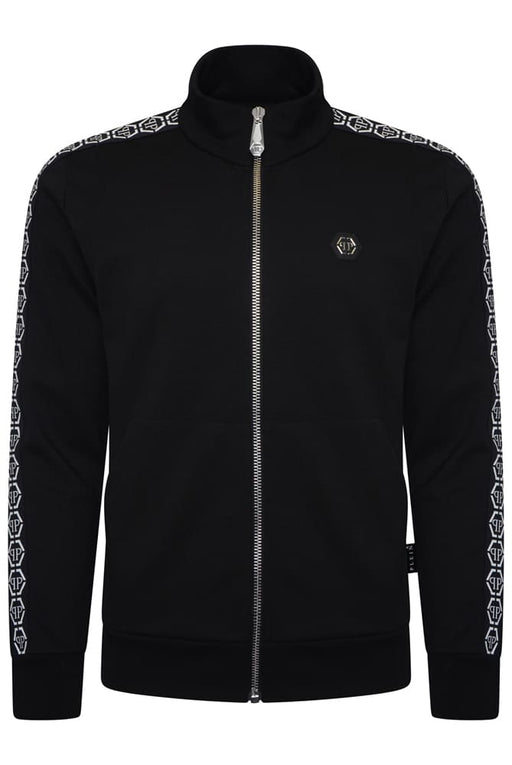 PHILIPP PLEIN HEX LOGO TAPE ZIPPER TRACK JACKET BLACK - giancarloricci