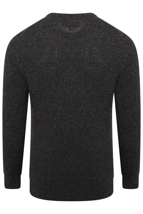 BARBOUR TISBURY TWEED FLECK KNIT BLACK