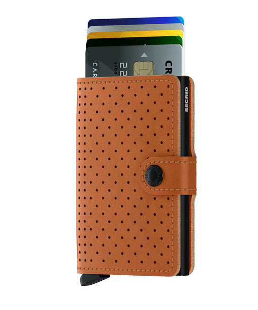 SECRID MINIWALLET PERFORATED BROWN - giancarloricci