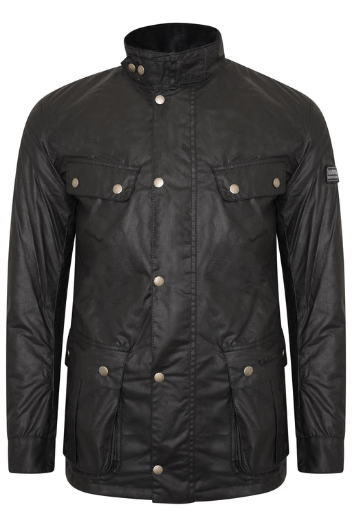 BARBOUR INTERNATIONAL DUKE PATCH POCKET WAX JACKET BLACK