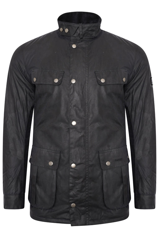 BARBOUR INTERNATIONAL DUKE PATCH POCKET WAX JACKET BLUE