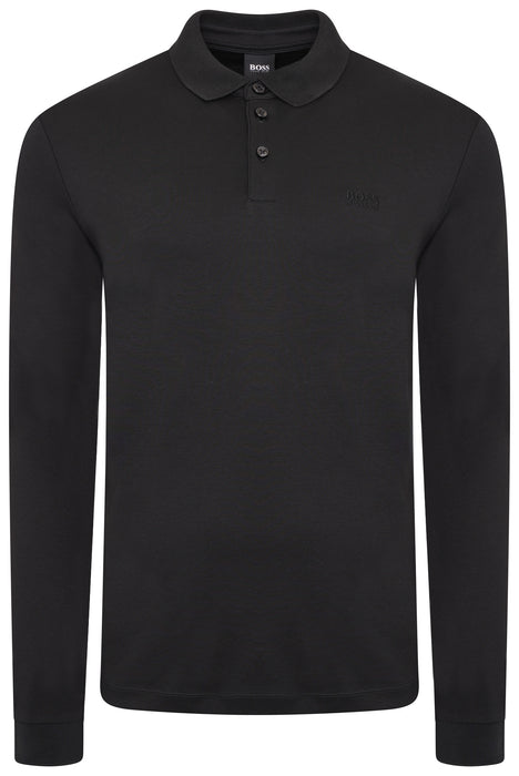 BOSS SMART CASUAL LONG SLEEVED JERSEY POLO BLACK