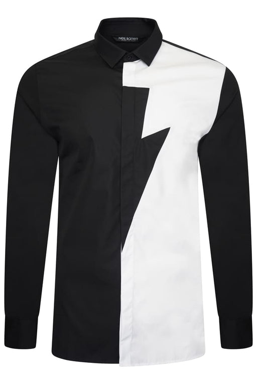 NEIL BARRETT HALF THUNDERBOLT STRETCH SHIRT BLACK - giancarloricci