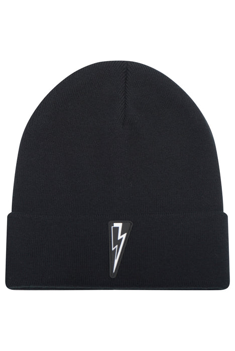NEIL BARRETT CASHMERE BLEND BOLT BEENIE BLACK - giancarloricci