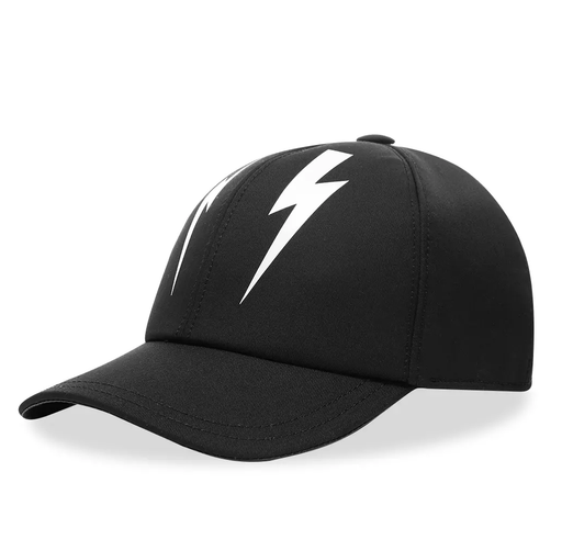 NEIL BARRETT MIRROR BOLT SIX PANEL CAP BLACK - giancarloricci