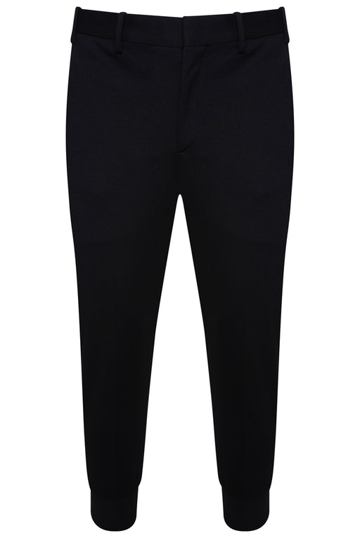 NEIL BARRETT CROPPED RIBBED CUFF SLIM PANTS BLACK - giancarloricci