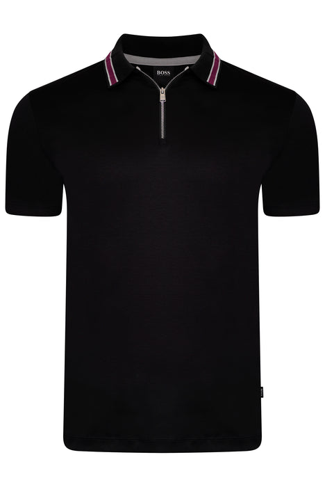 BOSS SMART CASUAL CONTRAST TRIM ZIPPER JERSEY POLO BLACK