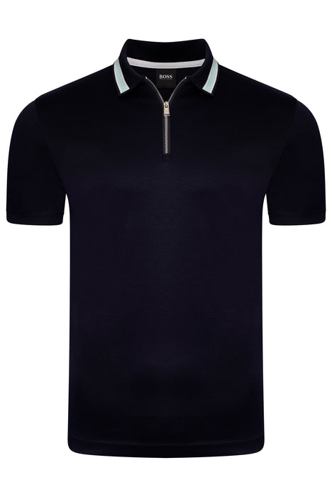 BOSS SMART CASUAL CONTRAST TRIM ZIPPER JERSEY POLO BLUE