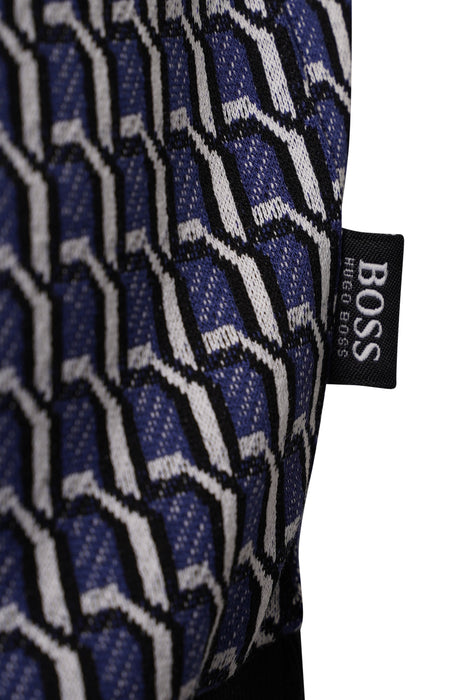 BOSS SMART CASUAL CONTRAST TRIM JACQUARD POLO BLUE
