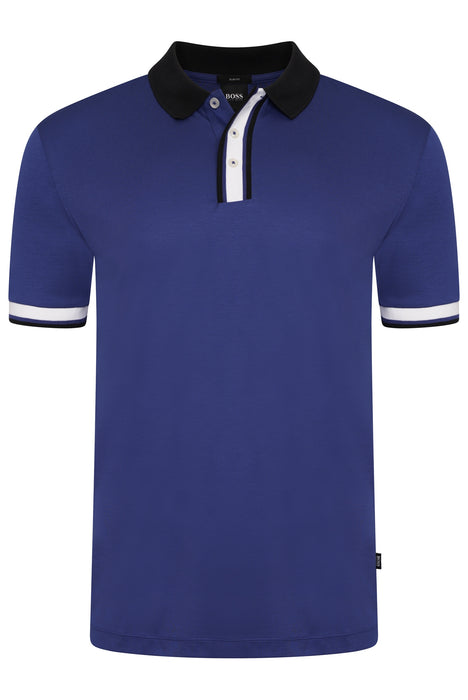BOSS SMART CASUAL SLIM FIT CONTRAST PLACKET JERSEY POLO BLUE