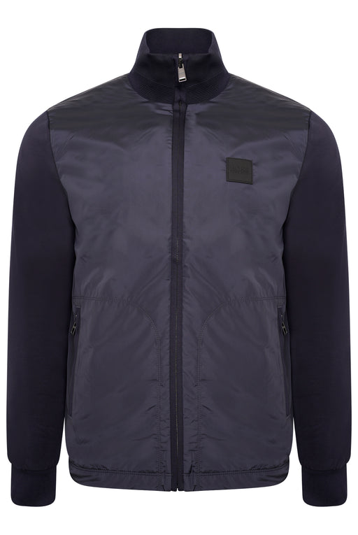 BOSS SMART CASUAL NYLON FRONT TRACK JACKET BLUE
