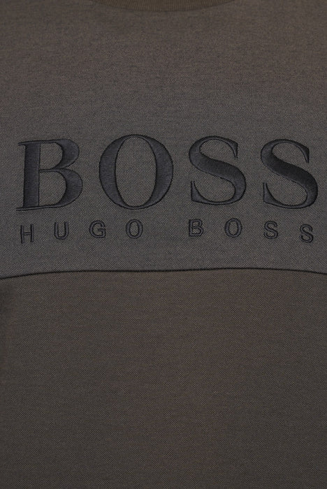 BOSS EMBROIDERED LOGO CREW SWEAT GREEN