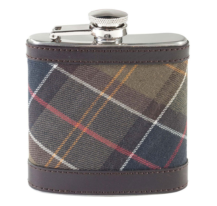 BARBOUR TARTAN HIP FLASK BROWN