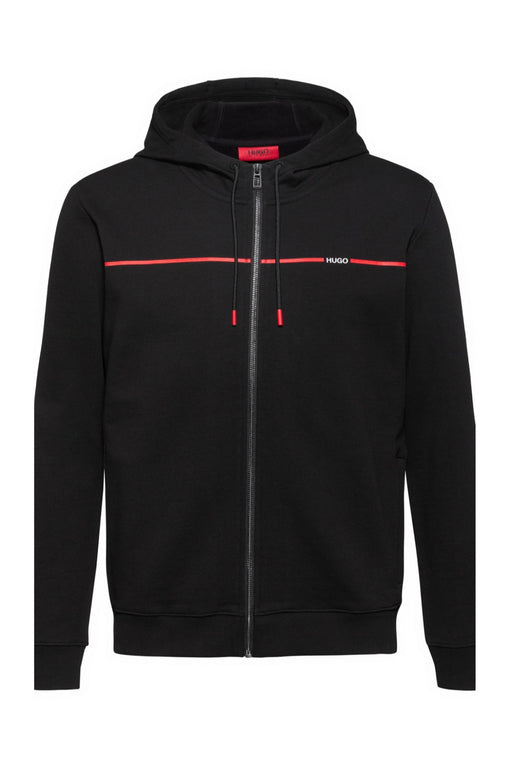 HUGO LOGO STRIPE ZIPPER HOODIE BLACK - giancarloricci