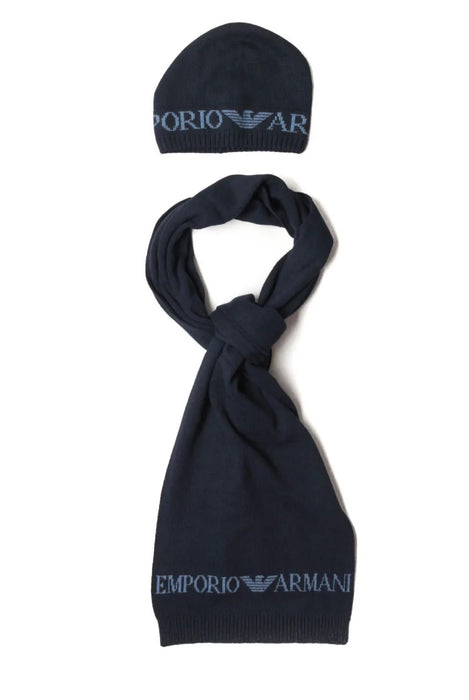 EMPORIO ARMANI HAT & SCARF SET BLUE
