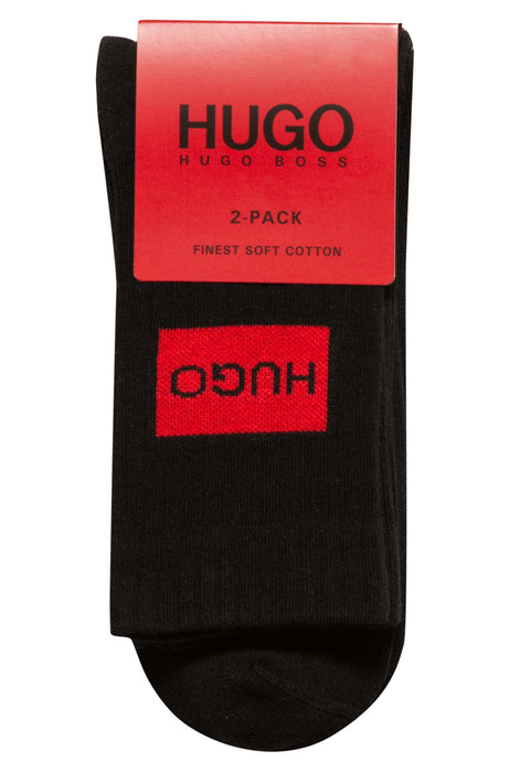 HUGO BODYWEAR PATCH LOGO 2 PACK SPORTS SOCK BLACK