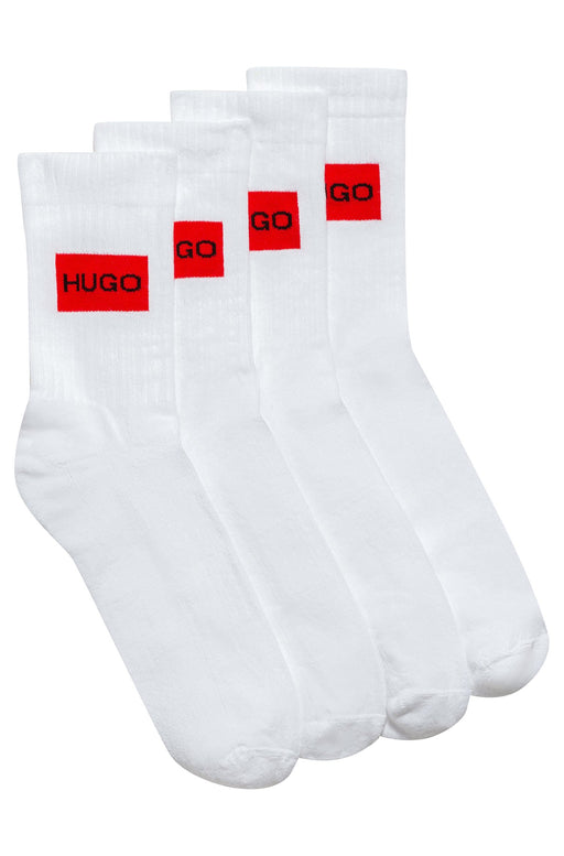 HUGO BODYWEAR PATCH LOGO 2 PACK SPORTS SOCK WHITE