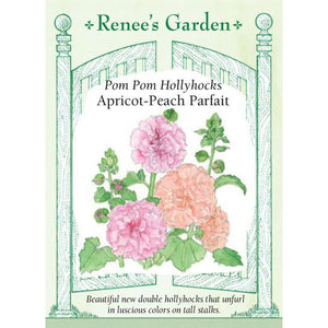 Hollyhocks - Pom Pom Apricot Peach Parfait