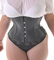 leather black waist cincher steel boned corset