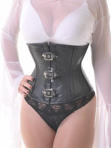 Leather Vixen black waist-cincher corset