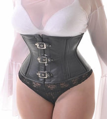 Black leather 3 buckles waist cincher corset