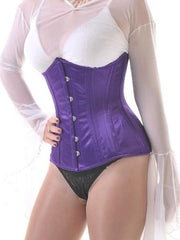 Purple satin underbust steel boned corset