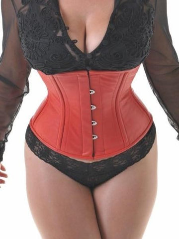 Red leather waist-cincher corset